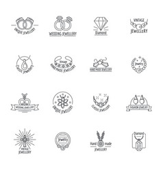 Jewellery logo luxury icons set outline style vector