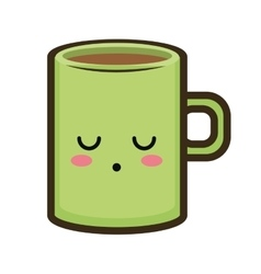 Kawaii cartoon coffee mug vector
