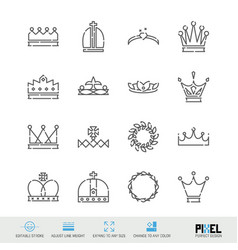 Line icon set crowns related linear icons royal vector