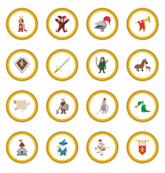Medieval cartoon icon circle vector