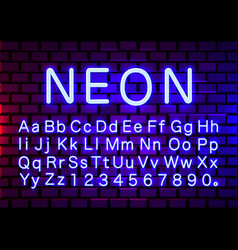 Neon light color blue font english alphabet and vector