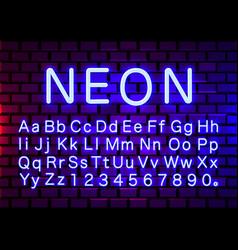 Neon light color blue font english alphabet vector