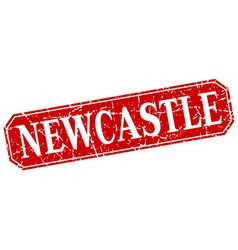 Newcastle red square grunge retro style sign vector