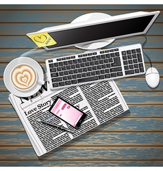 newspaper and cellphone with coffee and computer vector image