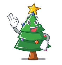 Okay christmas tree character cartoon vector