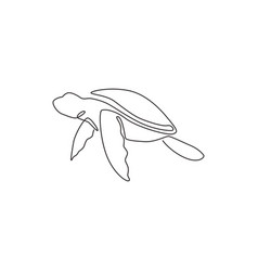 one single line drawing big turtle for marine vector image