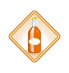 Orange soda bottle sunburst retro vector