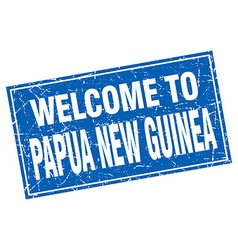 Papua New Guinea blue square grunge welcome to vector