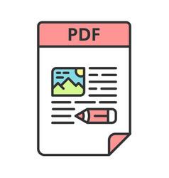 Pdf file color icon portable document format vector