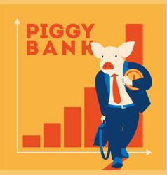 Pig businessman with coin metaphor piggy bank vector