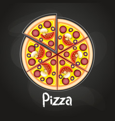 pizza on the board vector image