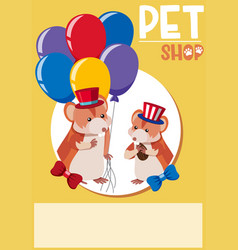 Poster design for pet shop with two hamsters vector