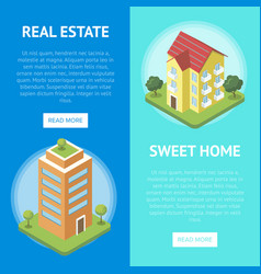 Real estate in town horizontal flyers vector