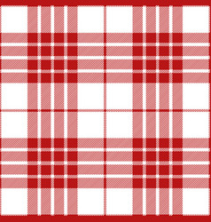 Red and white tartan plaid seamless pattern vector