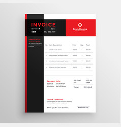 Red invoice template design for your business vector