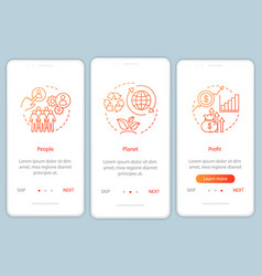 Resource management onboarding mobile app page vector