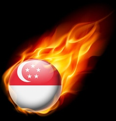 Round glossy icon of singapore vector image