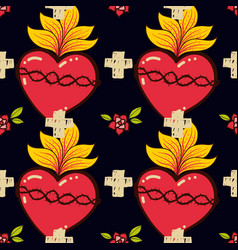 sacred heart cross rose seamless pattern old vector image