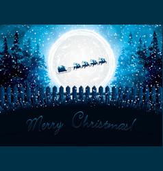 santa claus rides in a reindeer sleigh vector image