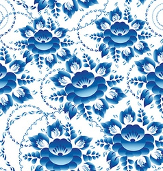 Seamless ornament pattern with blue flowers and vector image vector image