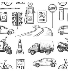 Seamless pattern of Traffic Laws icons vector image vector image
