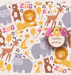 Seamless pattern with zoo animals vector