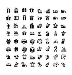 Set black gift box icons set 64 item vector