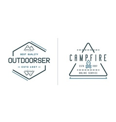 Set of Camping Camp Elements With Fictitious Names vector image