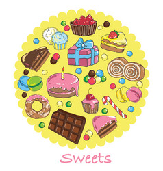 Set of sweets and baked goods vector