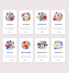 set school subjects mobile app onboarding vector image
