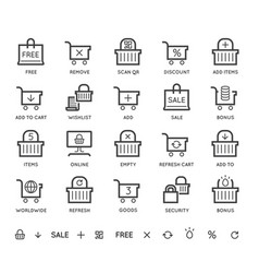 Set shopping cart and basket icons online food vector