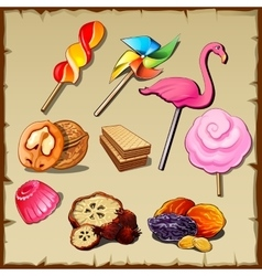set sweets and dried fruits nine icons vector image