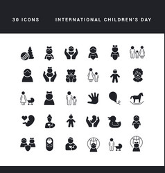 simple icons international children day vector image