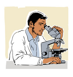 sketch of young scientist looking through vector image