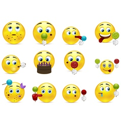 Smilies sweet tooth vector image