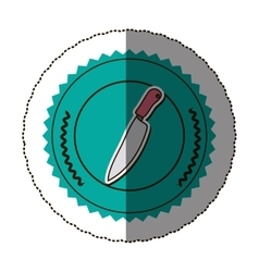 Sticker color round frame with knife vector