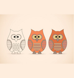 Three funny owls vector
