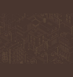 Town street intersection road buildings city top vector