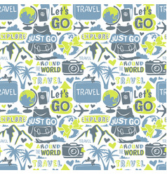 Travel motivation badge seamless patterns vector