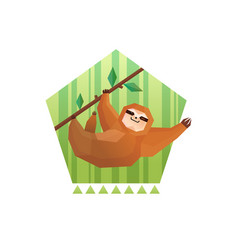 tree sloth pentagon composition vector image
