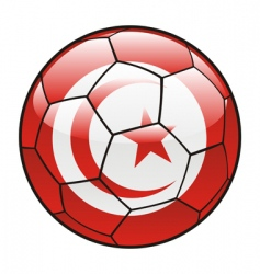 Tunisia flag on soccer ball vector