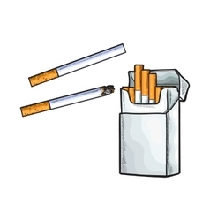 Unlabeled standing open pack of cigarettes vector image
