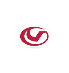 v initial round logo vector image