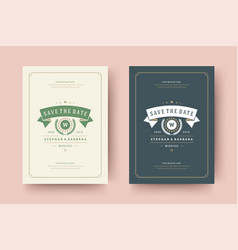 Wedding invitations save date cards design vector