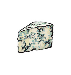 Wedge of roquefort gorgonzola blue cheese vector