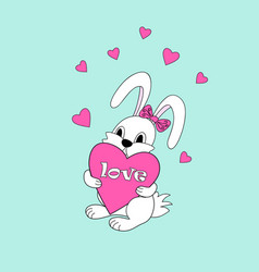 white cute cartoon bunny keeping heart with love vector image