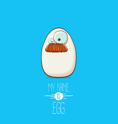 white egg cartoon characters isolated on blue vector image