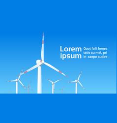 Wind turbine energy renewable station over blue vector