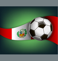 with soccet ball and flag of peru vector image