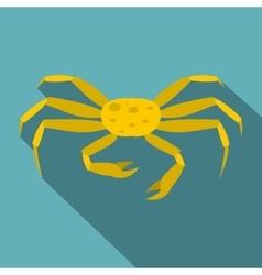 Yellow crab icon flat style vector image